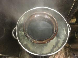 土たんぽで湯煎
